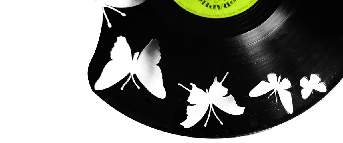 Vinyl clocks - butterflies motif