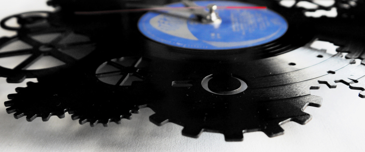 Vinyl clocks - gears motif
